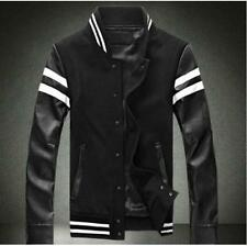 Korean Men's Slim Fit Cool Stand Collar Leather Cotton Fashion Jacket Coat New @