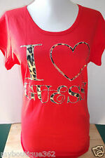 NEW WITH TAG GUESS RED CREW NECK TEE TOP WITH RHINESTONES LQQK