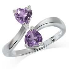 Natural Heart Shape Amethyst 925 Sterling Silver Bypass Ring