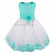 Petal Flower Girl Princess Pageant Party Wedding Junior Dress Birthday Turquoise