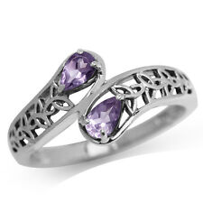 Natural Amethyst 925 Sterling Silver Triquetra Celtic Knot Bypass Ring