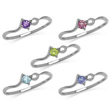 Peridot,Amethyst,Rhodolite,Topaz,Tanzanite Sterling Silver White GoldPlated Ring