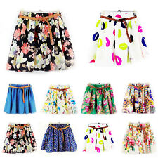 Vogue Lady Colorful High Waist Pleated Floral Chiffon Cute Mini Short Skirt