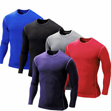 Mens Compression T-shirts Baselayer Shirts Solid Long Sleeve Fit Gym Tops Jersey
