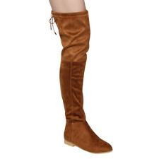 So Me AD29 Women's Drawstring Pull On Flat Heel Over The Knee High Boots