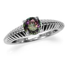 1.19ct. Mystic Fire Topaz 925 Sterling Silver Solitaire Ring