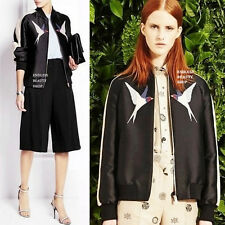 Biker Embroidered Bomber Jacket Women Baseball Coat Embroidery Applique Moto NEW