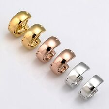 Wholesale 18k Gold Filled Charms Earrings 13MM Smooth Hoop Huggie Womens Jewelry