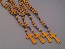 Rosary Natural Wood Beads Black Accents Wood Crucifix Necklace Pray! Great Gift!