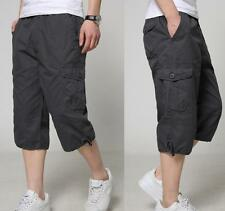 New Men Mid Long Cargo Baggy Straight Leg Casual Shorts Military Pant Trouser