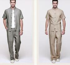 Chinese Tang Suit Mens Linen Short Sleeve Button-Front Shirts Long Pants W77
