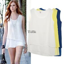 Solid Women O-Neck Chiffon Sleeveless Multilayer Irregular Tank Top Blouse  TXCL