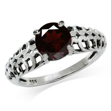 1.39ct. Natural Garnet 925 Sterling Silver Filigree Victorian Style Ring