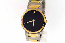 Men's Movado 0606064 TEMO Two-Tone Stainless Steel Black Dial Watch