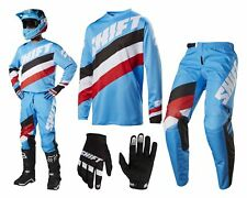 Shift Whit3 Tarmac MX Combo Motocross Enduro Cross Trousers and Jersey blue