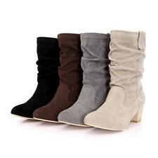 Top Womens Mid Calf Boots Slouch Down Block Heel Plus Size Suede Shoes Pull On