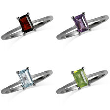 Garnet, Topaz, Amethyst or Peridot White Gold Plated 925 Sterling Silver Ring