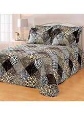 Animal Print Safari Bedspread Blanket T-F-Q-K Curtains Tiger Leopard Zebra