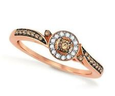 Lovely! 100% 10K Rose Gold Chocolate Brown & White Diamond Cluster Ring .20ct