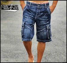 Mens Stylish Cool Blue Denim Jean Shorts Pants Boys Overall Pocket Jean Trousers