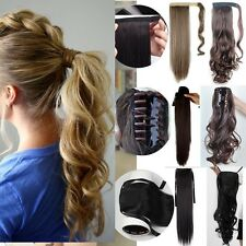 UK Mega Thick Clip In Ponytail Hair Extensions Straight Curly Wrap Pony Tail cd
