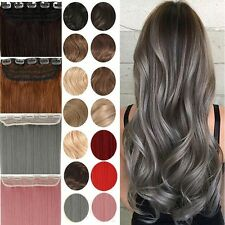 Long 100% Natural Hair Extensions Clip in on Hair Extension Half Full Head fzc