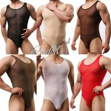 Sexy Mens Freestyle Underwear Mesh Sheer Leotard Thong Mankini Bodysuit Swimsuit