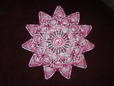 Handmade Pink Crochet Pineapple Doily Tablecloth Topper Verigated NEW & UNUSED