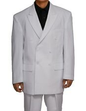 New Mens Double Breasted White Suit Jacket & Pants 48 R