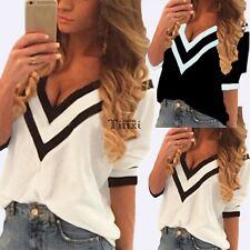 Sexy Stylish  Women V Neck Striped Blouse Tee Shirt Spring Summer T-shirt Tops
