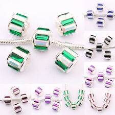 Lots 20Pcs Rhinestone Lampwork Copper Czech Glossy Loose Spacer Beads 11x10mm