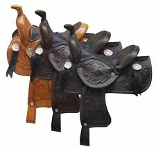 "WESTERN HORSE MINIATURE LEATHER SADDLE 5"" SEAT DECORATION, NOVELTY, COLOR CHOICE"