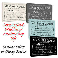 Personalised Wedding Anniversary Gift - Word Art, Canvas or Poster Print 4 Sizes