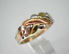 14k Solid Tri-Color Gold 4 Band Turkish Puzzle Ring - Free Shipping