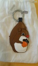 NWT Coach silver multi colored squirrel leather key fob chain with dust bag