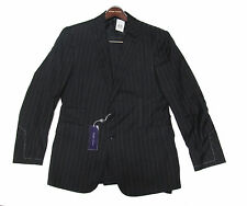 Ralph Lauren Purple Label Mens Italy Charcoal Grey Striped Wool 2 Button Suit