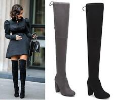 WOMENS BLACK GREY OVER THE KNEE THIGH HIGH HEEL STRETCH DRAWSTRING BOOTS