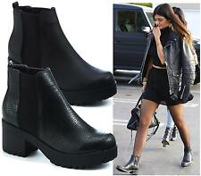 WOMENS BLACK PU CHUNKY SOLE PLATFORM MID HEEL CHELSEA ANKLE BOOTS