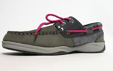 Sperry Intrepid Grey & Pink Leather Glitter Boat Shoes Girls Sz 4, 5.5 NWOB