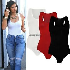 Sexy Women's Sleeveless Stretch Bodysuit Ladies Blouse Body Leotard Top T-shirt#