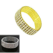 5 Rows Bling Crystal Rhinestone Stretch Bracelet Bangle Wedding Bridal Wristband