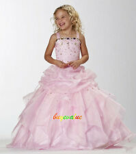 Age 2-14 Girls Party Bridesmaid Wedding Flower girl Dress tutu dress pink fluffy
