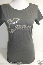 NEW WITH TAG GUESS CHARCOAL GRAY TEE TOP WITH RHINESTONES GUESS LOGO LQQK