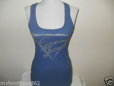 NWT GUESS BLUE TANK TOP WITH GUESS SILVER STUDS LOGO