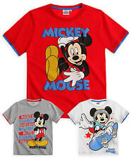 Boys Disney Mickey Mouse T-Shirt New Kids Short Sleeved Cotton Top Age 3-8 Years