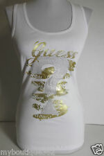 NEW WITH TAG GUESS WHITE TANK TOP WITH GUESS LOGO ON THE FRONT LQQK