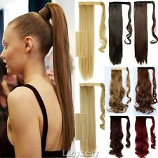 Vogue Women 100% Long Clip In Ponytail Wrap Around Hair Extension Human Made Mnz