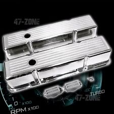 ALUMINUM 1958-86 CHEVY SB 283-400 TALL VALVE COVERS BALL MILLED - POLISHED