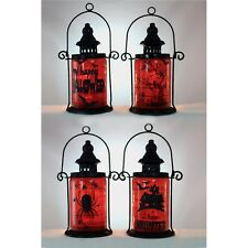 HLW6202 Lighted Metal Lantern Halloween Scene Glass Table Decoration Night Light