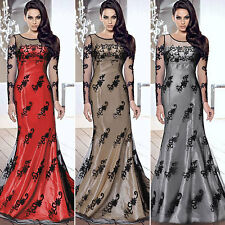 New Womens Formal Prom Evening Cocktail Party Bridesmaid Ladies Long Lace Dress